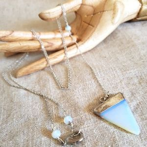 Opal Triangle Pendulum Silver Y Shaped Necklace